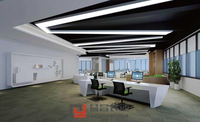 项目类型:办公室 设计时间:2015年11月2015年12月 案例说明:本案是南昌一家网络公司办公室的装修效果图,本案的装修风格是现代简约风,以简单实用为装修的首要原则。本案办公室的装修采用白色作为主色调,使办公室整体看上去简洁,大方,时尚,高端。本案办公室装修吊顶选择的是局部吊顶,在会客区和经理办公室以及会议室等地方采用了吊顶造型,而在大厅办公区,以及走廊这些区域则采用的是原顶刷黑的方式,这种顶面分区的方式不仅使各个区域分隔明确,又让办公室独具特色。